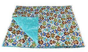 Cotton Laminate Weighted Blanket - Monkey Top / Teal Bottom